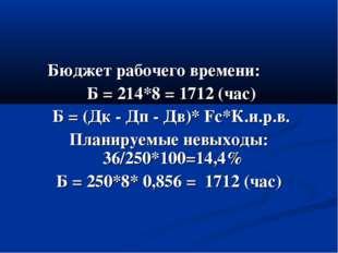 Бюджет рабочего времени: Б = 214*8 = 1712 (час) Б = (Дк - Дп - Дв)* Fс*К.и.р