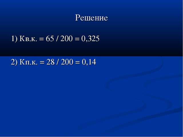 Решение 1) Кв.к. = 65 / 200 = 0,325 2) Кп.к. = 28 / 200 = 0,14