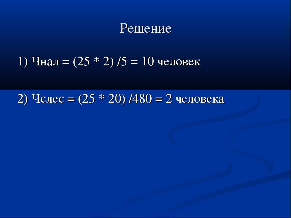 Решение 1) Чнал = (25 * 2) /5 = 10 человек 2) Чслес = (25 * 20) /480 = 2 чело...