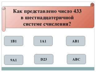 Как представлено число 433 в шестнадцатеричной системе счисления? 1В1 9А1 1А