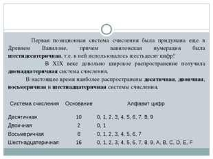 Первая позиционная система счисления была придумана еще в Древнем Вавилоне,