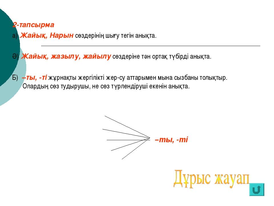 2-тапсырма а) Жайық, Нарын сөздерінің шығу тегін анықта. Ә) Жайық, жазылу, жа...