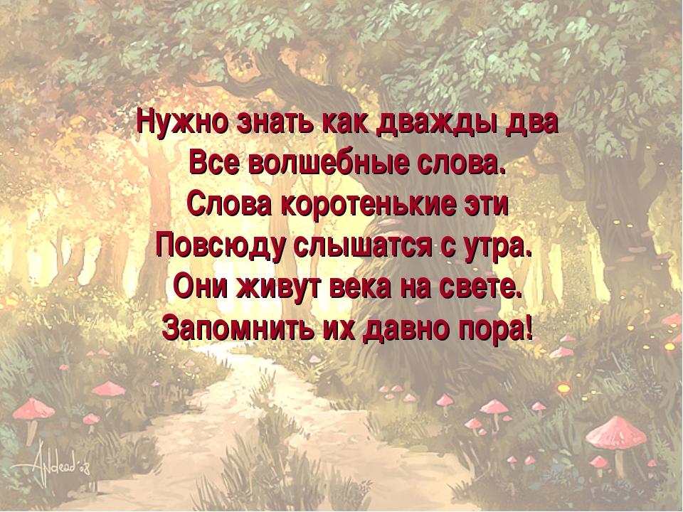 Нужно знать как дважды два Все волшебные слова. Слова коротенькие эти Повсюду...