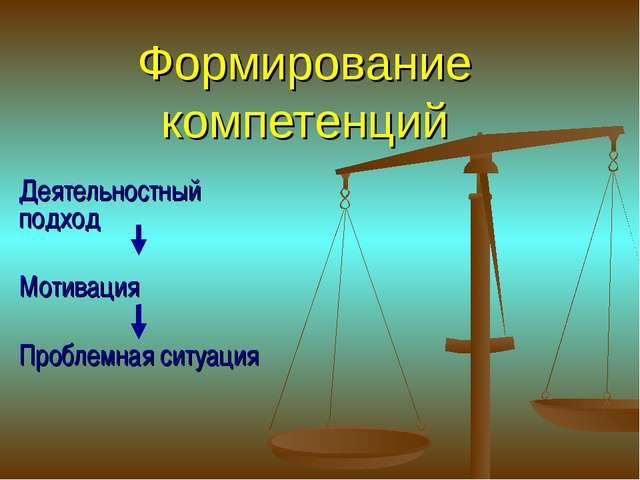 Формирование компетенций Деятельностный подход Мотивация Проблемная ситуация