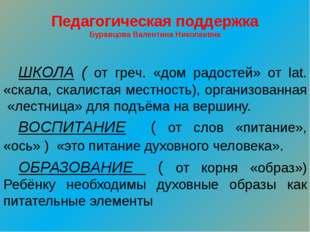 Педагогическая поддержка Буравцова Валентина Николаевна ШКОЛА ( от греч. «до