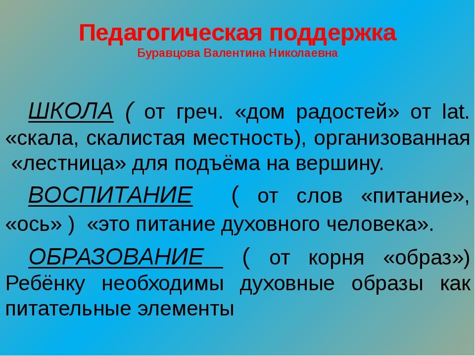 Педагогическая поддержка Буравцова Валентина Николаевна ШКОЛА ( от греч. «до...