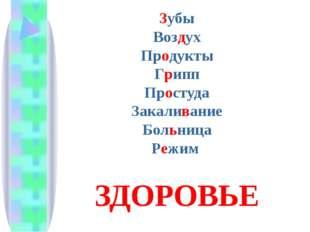Зубы Воздух Продукты Грипп Простуда Закаливание Больница Режим ЗДОРОВЬЕ
