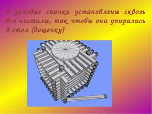 4 угловые спички установлены сквозь все настилы, так чтобы они упирались в ст