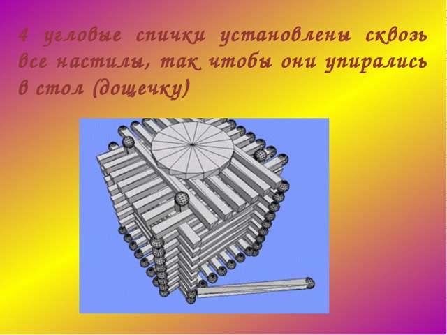 4 угловые спички установлены сквозь все настилы, так чтобы они упирались в ст...