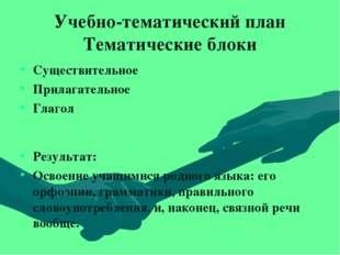 Учебно-тематический план Тематические блоки Существительное Прилагательное Гл