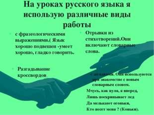 На уроках русского языка я использую различные виды работы с фразеологическим