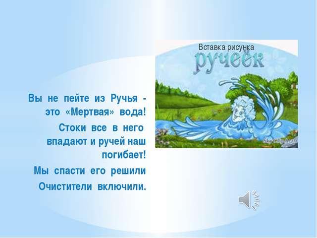 Вы не пейте из Ручья - это «Мертвая» вода! Стоки все в него впадают и ручей н...