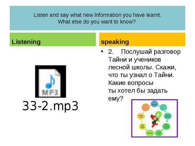 Listen and say what new lnformation you have learnt. What else do you want to...