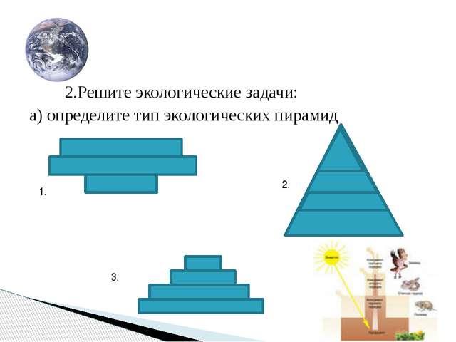 2.Решите экологические задачи: а) определите тип экологических пирамид 1. 2....