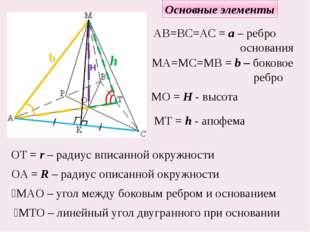 Основные элементы h MТ = h - апофема H MO = H - высота b МА=МС=МВ = b – боков