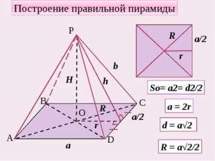 Построение правильной пирамиды а b H R So= a2= d2/2 a = 2r d = a√2 R = a√2/2