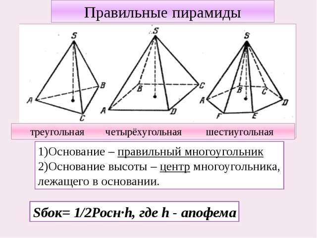 Правильные пирамиды 1)Основание – правильный многоугольник 2)Основание высоты...