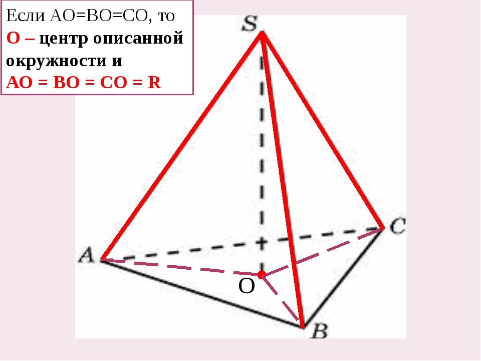 Если АО=ВО=СО, то О – центр описанной окружности и АО = ВО = СО = R О