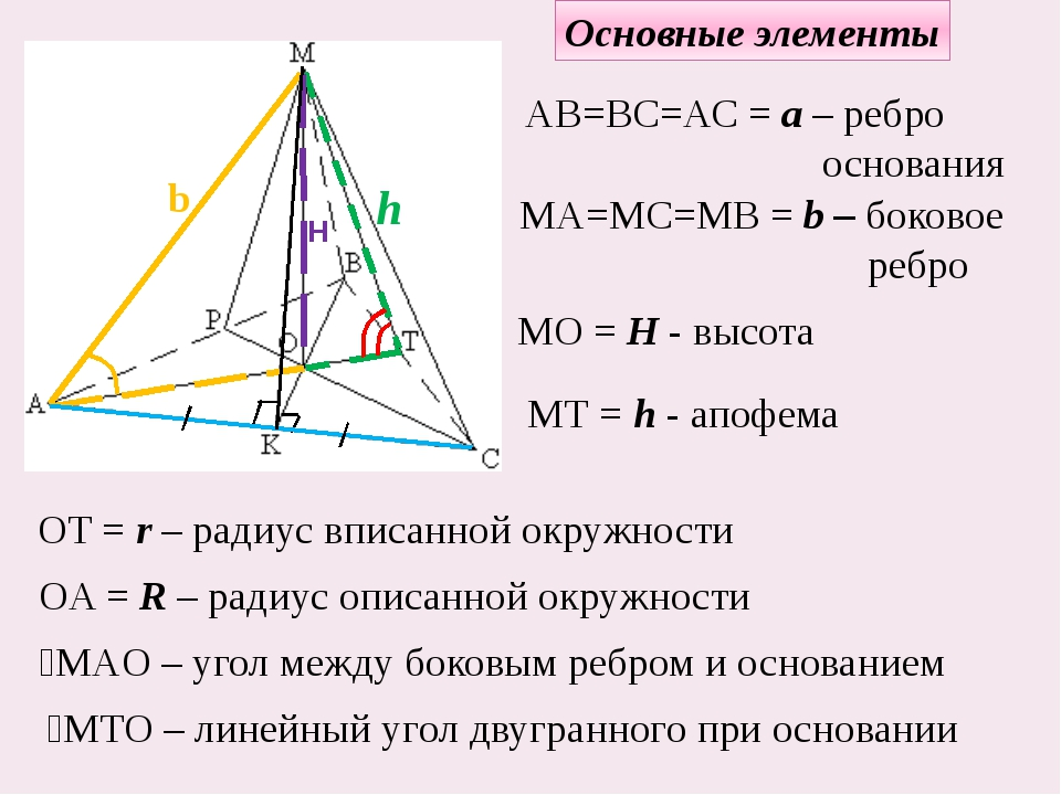 Основные элементы h MТ = h - апофема H MO = H - высота b МА=МС=МВ = b – боков...