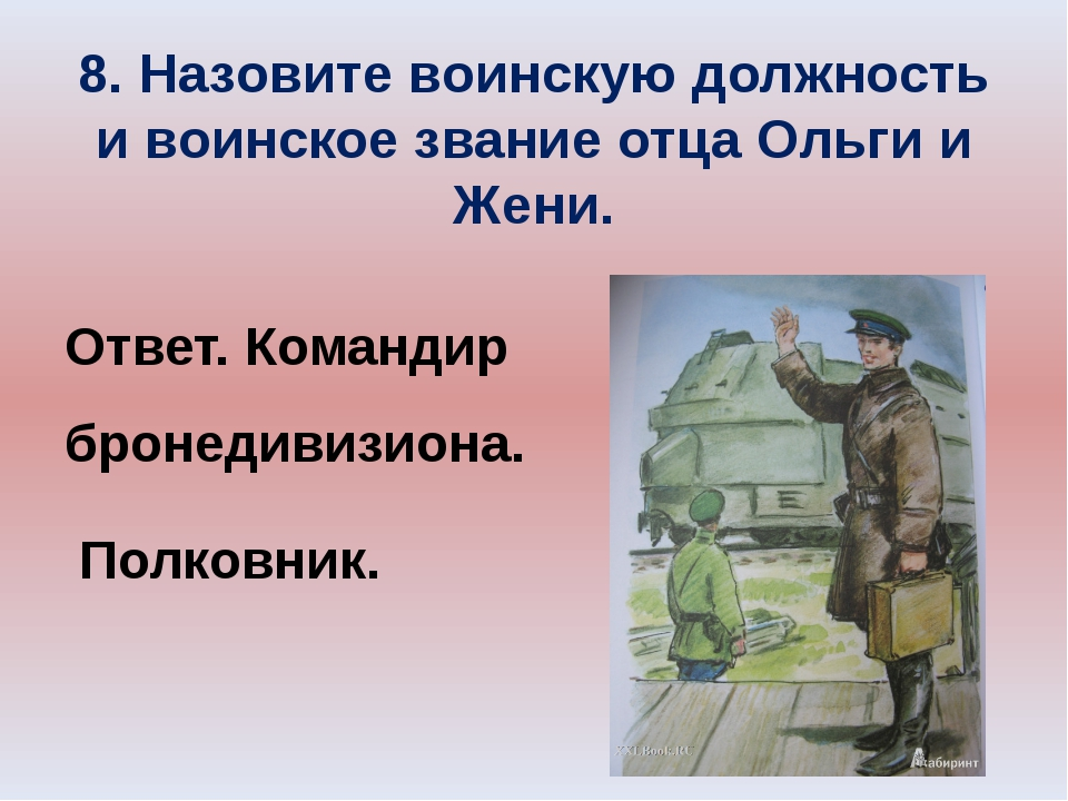 8. Назовите воинскую должность и воинское звание отца Ольги и Жени. Ответ. Ко...