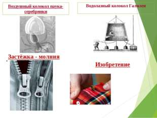 Водолазный колокол Галилея Воздушный колокол паука-серебрянки Застёжка - молн