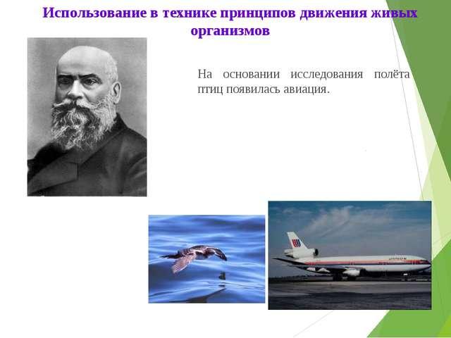 На основании исследования полёта птиц появилась авиация. Использование в тех...