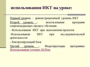 использования ИКТ на уроке: Первый уровень - демонстрационный уровень ИКТ Вто