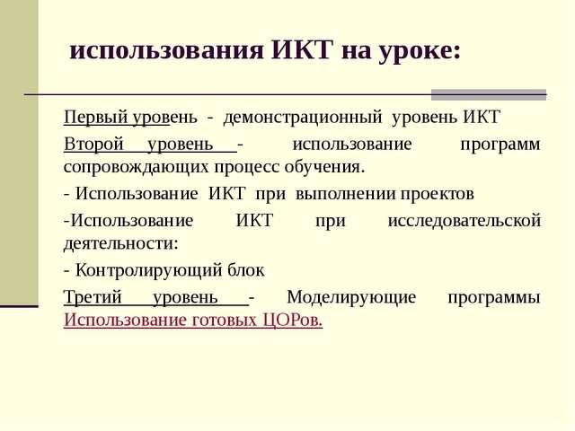 использования ИКТ на уроке: Первый уровень - демонстрационный уровень ИКТ Вто...