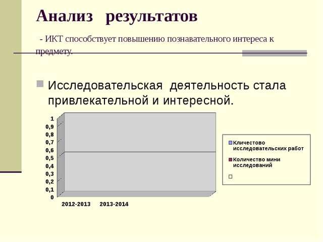 Анализ результатов - ИКТ способствует повышению познавательного интереса к пр...