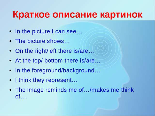 Краткое описание картинок In the picture I can see… The picture shows… On the...