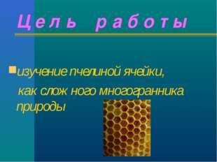 Ц е л ь р а б о т ы изучение пчелиной ячейки, как сложного многогранника прир