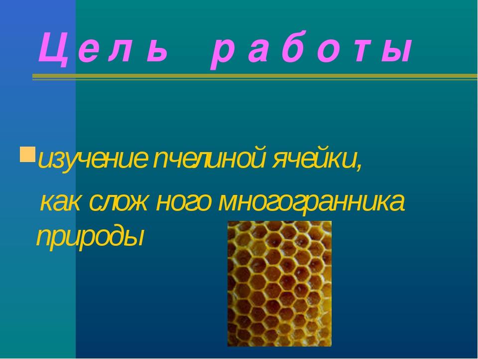 Ц е л ь р а б о т ы изучение пчелиной ячейки, как сложного многогранника прир...