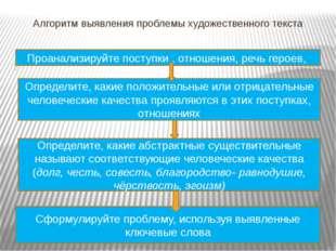 Алгоритм выявления проблемы художественного текста Определите, какие положите