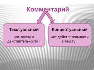 Комментарий Текстуальный «от текста к действительности» Концептуальный «от де