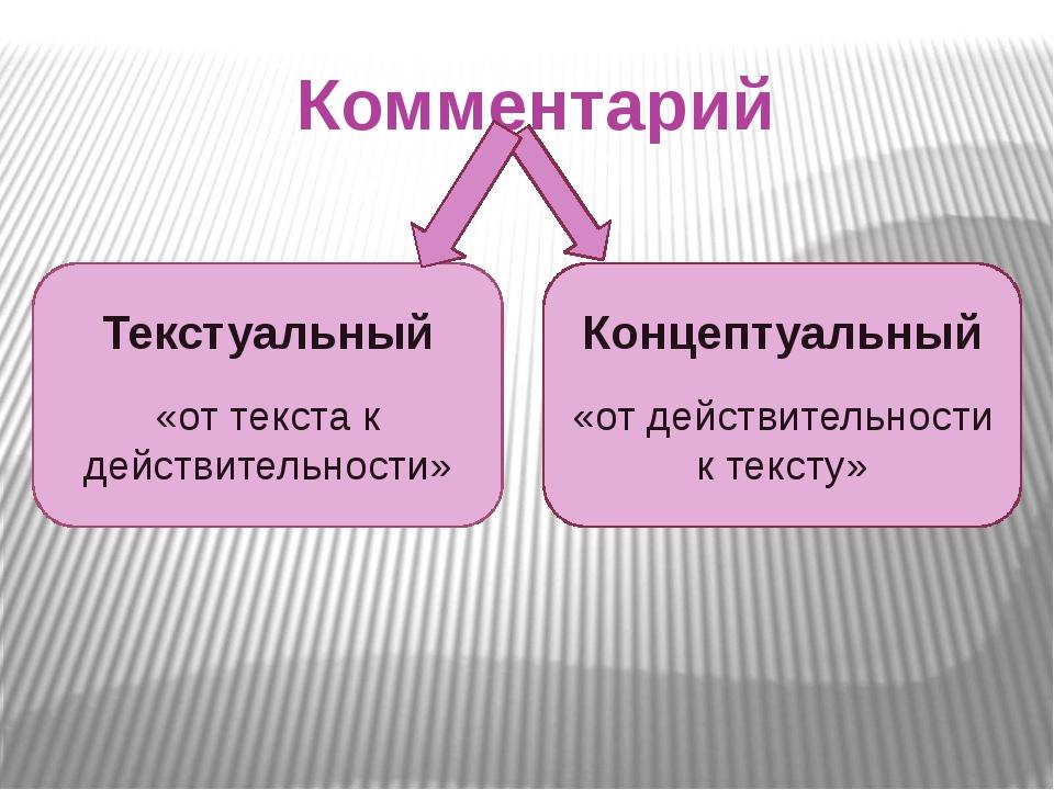 Комментарий Текстуальный «от текста к действительности» Концептуальный «от де...