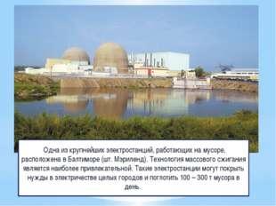 Одна из крупнейших электростанций, работающих на мусоре, расположена в Балти