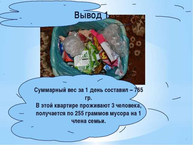 Суммарный вес за 1 день составил – 765 гр. В этой квартире проживают 3 челов...