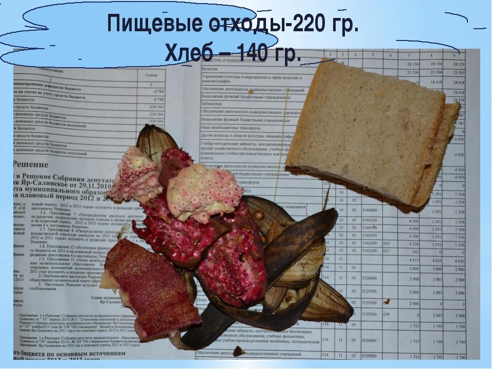 Пищевые отходы-220 гр. Хлеб – 140 гр.