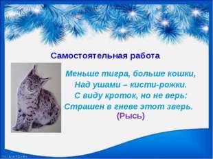 Самостоятельная работа Меньше тигра, больше кошки, Над ушами – кисти-рожки. С