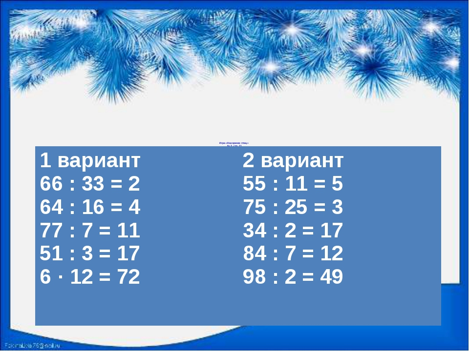 Игра «Накормим птиц» № 3, стр. 21 1 вариант 66 : 33 = 2 64 : 16 = 4 77 : 7 =...