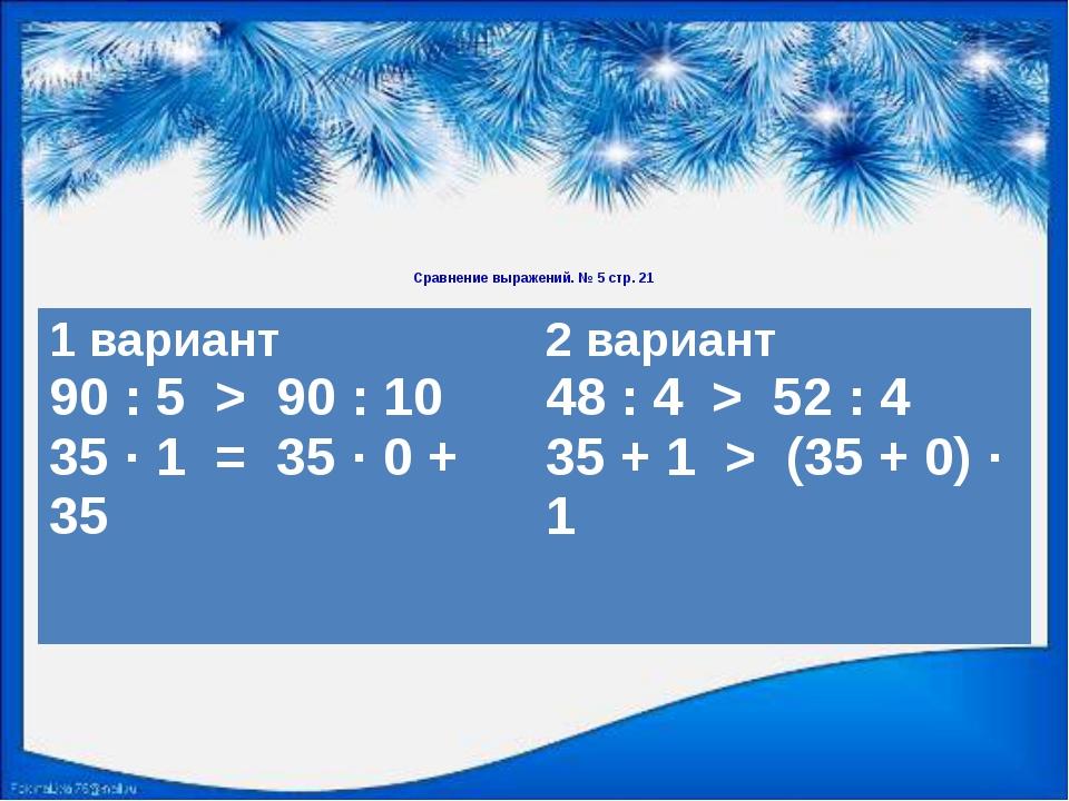 Сравнение выражений. № 5 стр. 21 1 вариант 90 : 5 > 90 : 10 35 · 1 = 35 · 0...