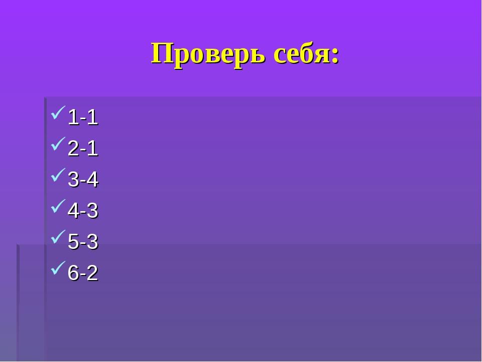 Проверь себя: 1-1 2-1 3-4 4-3 5-3 6-2