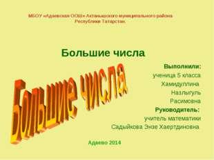 МБОУ «Адаевская ООШ» Актанышского муниципального района Республики Татарстан.