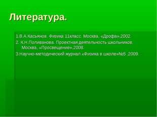 Литература. 1.В.А.Касьянов. Физика 11класс. Москва, «Дрофа»,2002. 2. К.Н.Поли