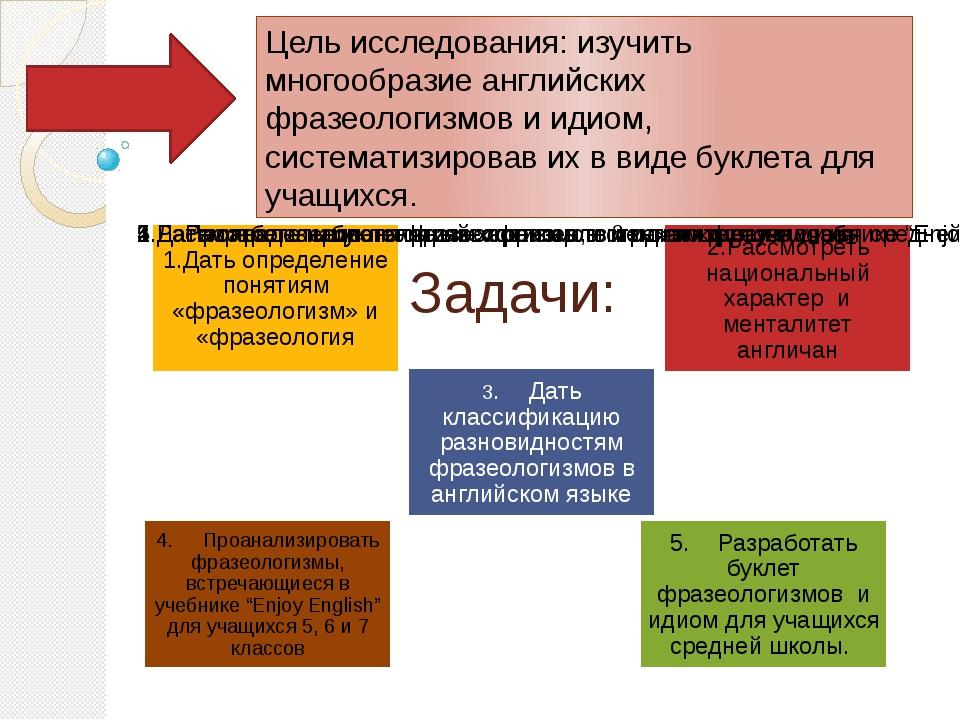 Задачи: Цель исследования: изучить многообразие английских фразеологизмов и и...