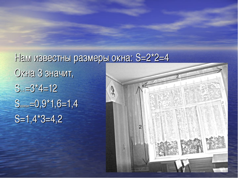 Нам известны размеры окна: S=2*2=4 Окна 3 значит, SО.б.=3*4=12 Sдвери=0,9*1,6...