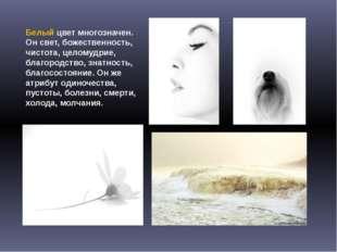 Белый цвет многозначен. Он свет, божественность, чистота, целомудрие, благоро