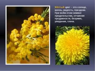 Жёлтый цвет – это солнце, жизнь, радость, праздник. При всём этом символ пред