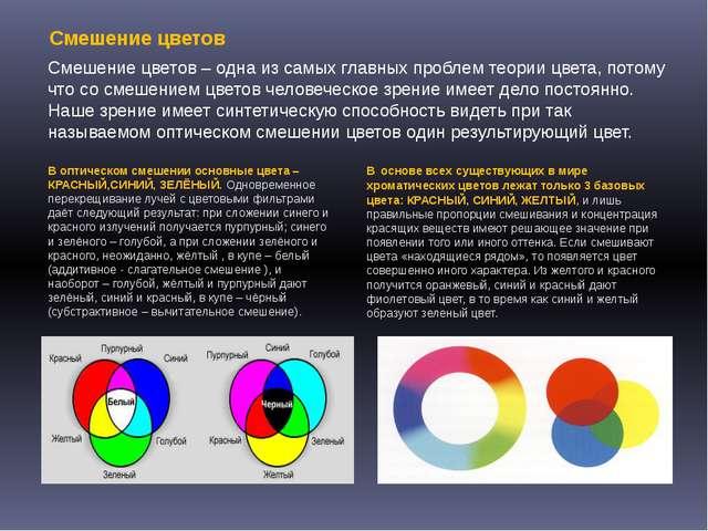 Смешение цветов – одна из самых главных проблем теории цвета, потому что со с...