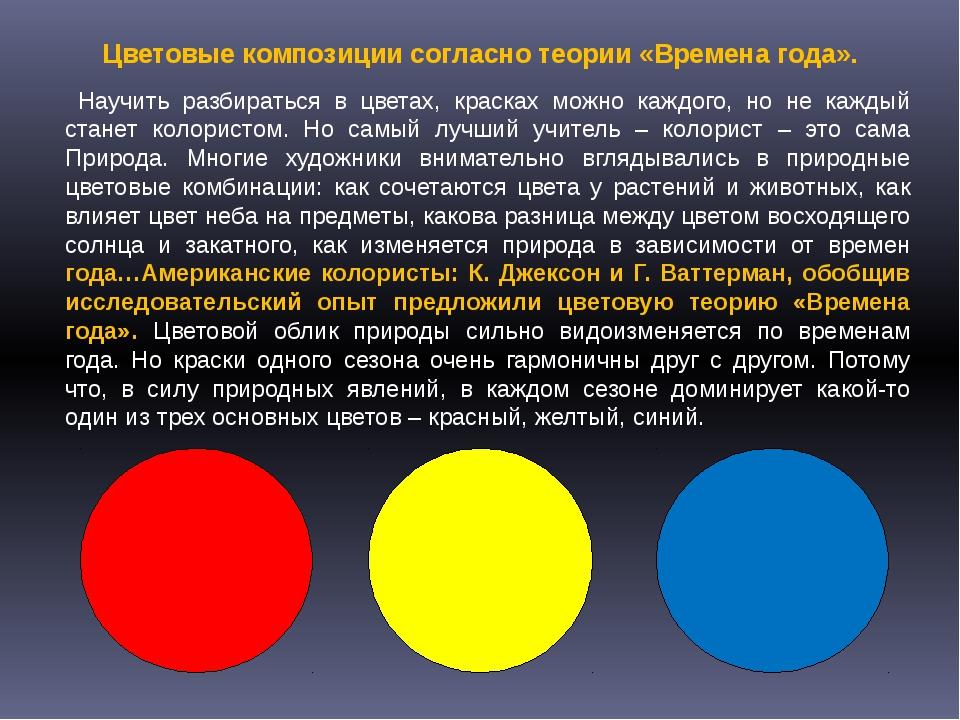 Цветовые композиции согласно теории «Времена года». Научить разбираться в цв...